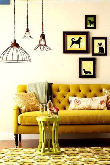 //: Lamps, Living Rooms, Lights Fixtures, Colors, Silhouette, Dogs Art, Yellow Sofa, Sofas, Mustard Yellow