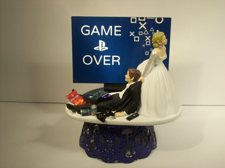GAME OVER Bride and Groom PlayStation Funny Wedding Cake Topper Video Game Groom's Cake (Can be Personalized with Your Names) by mikeg1968 on Etsy https://www.etsy.com/listing/216219385/game-over-bride-and-groom-playstation
