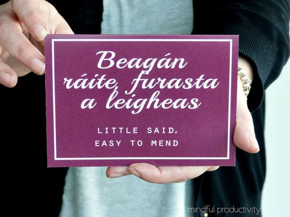 Proverbs Card, Old Irish saying - Gaeilge - Ireland greeting cards - made in the west of Ireland - lifestyle card