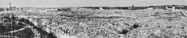 Warsaw Ghetto, smashed into the ground by German forces, according to Adolf Hitler`s order, after the suppressing of the Warsaw Ghetto Uprising in 1943. North-west view, left - the Krasinski`s Garden and Swietojerska street, photo taken in 1950.