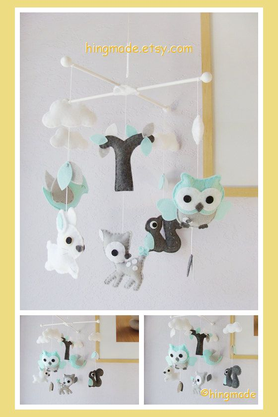 Woodland Baby Mobile Bunny Deer Bird Owl Squirrel Play In A Soft Color Turquoise Gray Forest Under White Clouds Custom Your Colors Boy Ideas