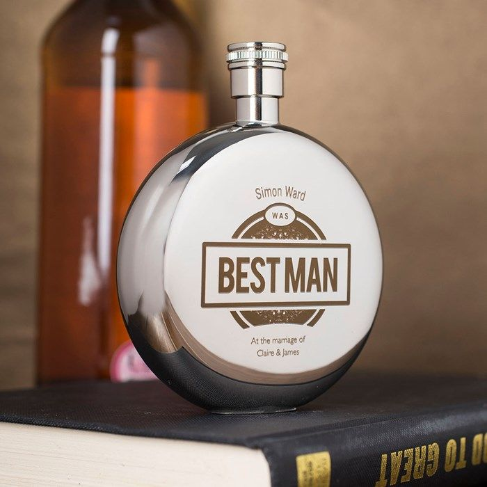 Engraved Round Hip Flask - Best Man   Engraved Gifts By GettingPersonal.co.uk