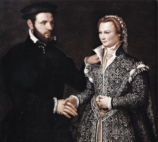 1540-1570 Unknown artist from Bergamo - Double portrait. I like this because you rarely see affection between portrait couples in this era.
