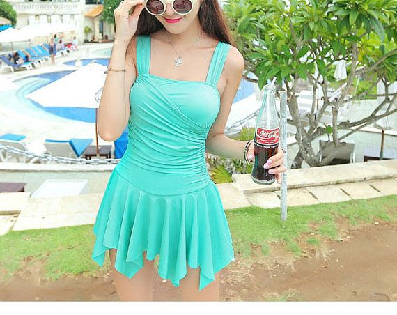 Women Green One-piece Strap Swimsuit Skirt Swimsuit Girl Beach Swimming Dress Swimming Clothes With Integrated Bottom
