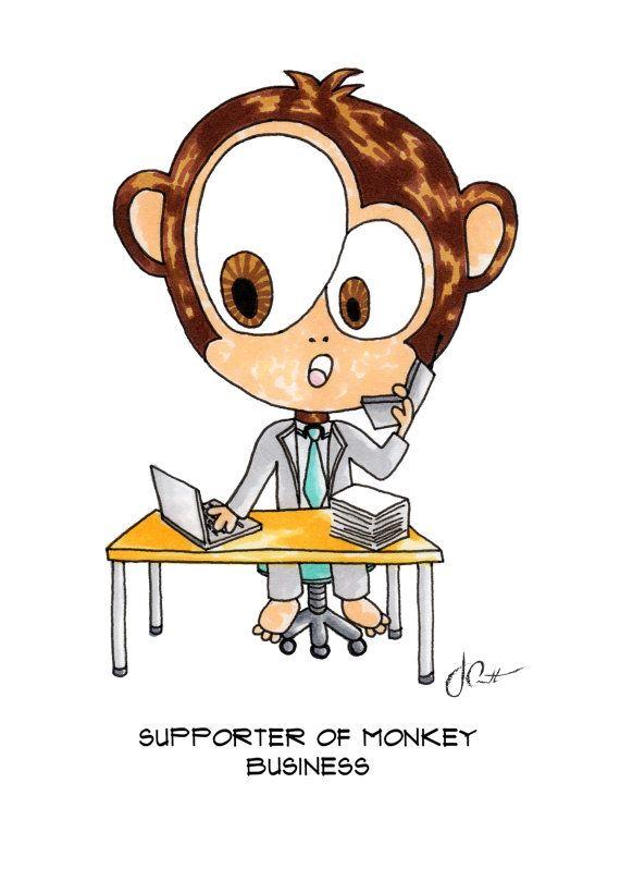Supporter of Monkey Business - Cartoon QTS Illustration | Josephine Condotta | 5x7 | Print | Drawing