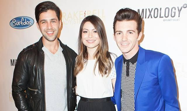 Miranda Cosgrove, Drake Bell and Josh Peck at Drake's album release party.