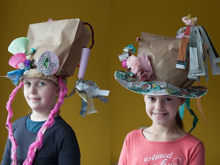 Paper Bag hats. Approved by Andrea Beaty, author of Happy Birthday Madame Chapeau.