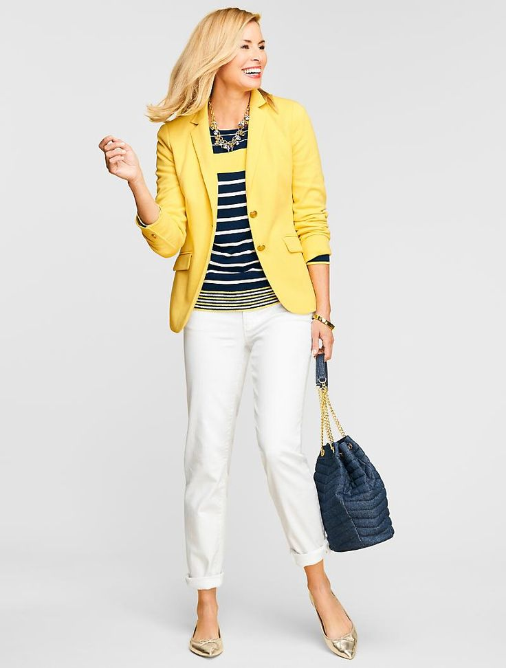 A yellow knit blazer adds a touch of sunshine to any outfit.