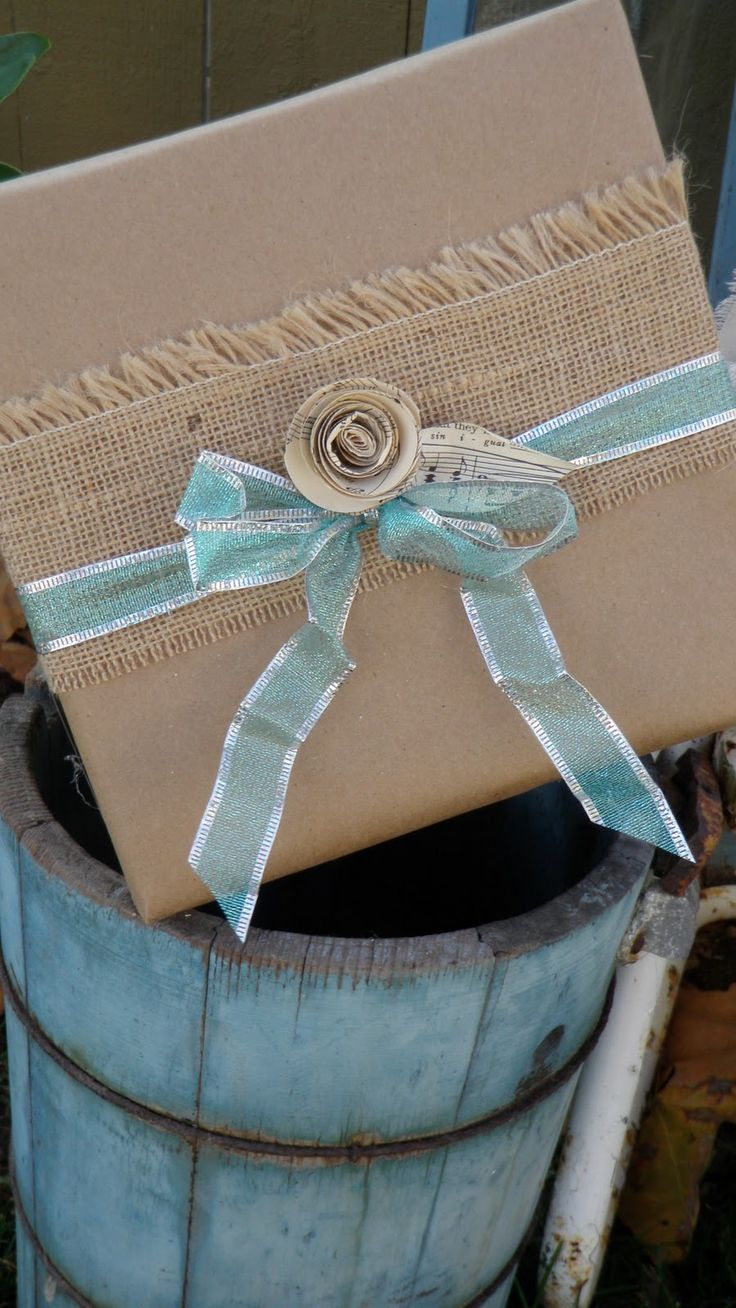 Love the shabby chic gift wrapping!