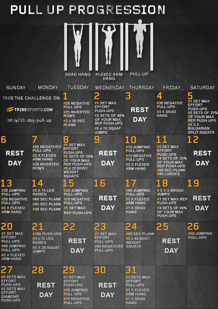 31 day pull up progression challenge. Become a pull up pro by making steady progress following this guide. muscle and strength // pull-ups // chin-ups // health and fitness // gym workouts // exercise