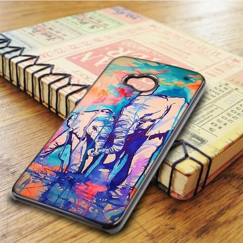 Unique Watercolor Elephant Family HTC One M7 Case