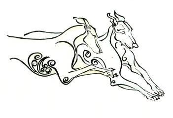 Idea for double greyhound tattoo (original artwork by Kathy Hoynes) by consuelo
