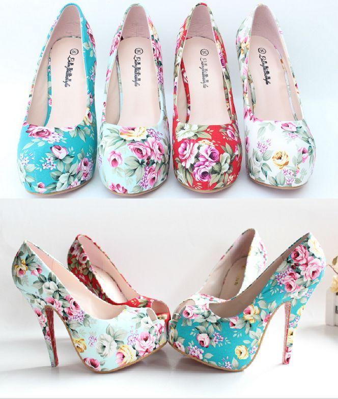 Fashion Floral Platform Pumps Classic Stiletto Women Heels Party wedding Shoes