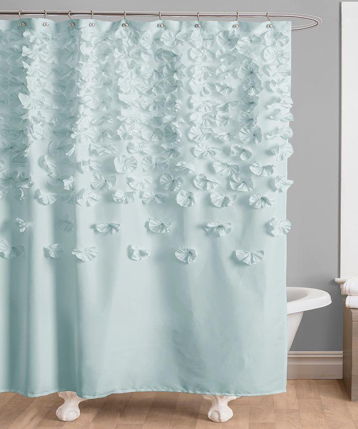 Blue Lucia Shower Curtain Handmade FlowersFabric CurtainsShower