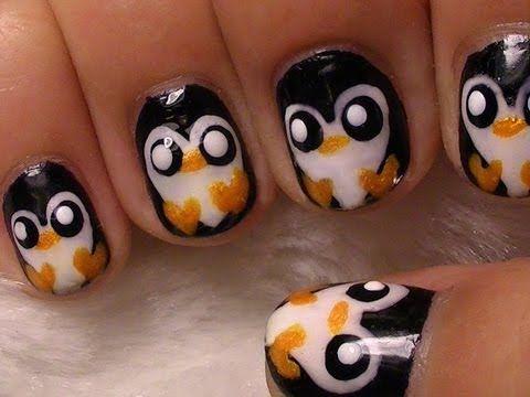 Cute Penguin Nail Art-Tut