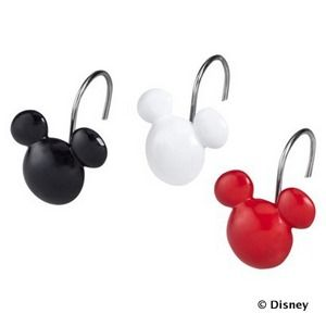 Mickey Mouse Bathroom: Shower curtain hooks in black, white and red