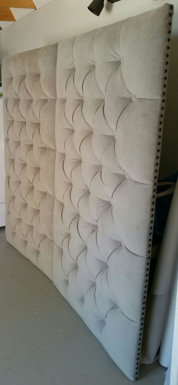 Tufted wall panels gray velvet nailhead trim custom wall mounted