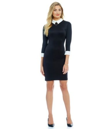 Ivanka Trump Contrast Collar and Cuff Scuba Crepe Shirt Dress #Dillards