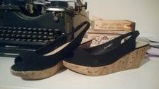 Size 8 Black Slingback Cork Wedges