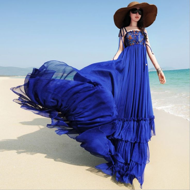 Pas cher 2014 New summer long beach robe femmes spaghetti sangle en mousseline à volants robe de passer la serpillière mode maxi robe, Acheter  Robes de qualité directement des fournisseurs de Chine:   2014 nouveau été Long Beach robe femmes de courroie de gaine de mousseline de soie à volants robe de passer la serpil