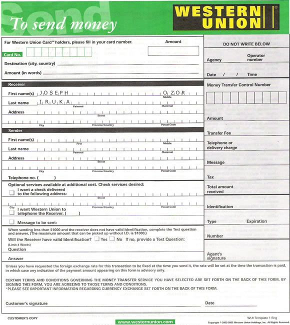 Western Union Form to Send Money