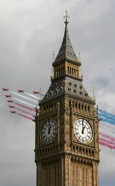Big Ben strikes one o'clock on April 1, 2008 in London, England. The RAF are marking their 90th Anniversary.