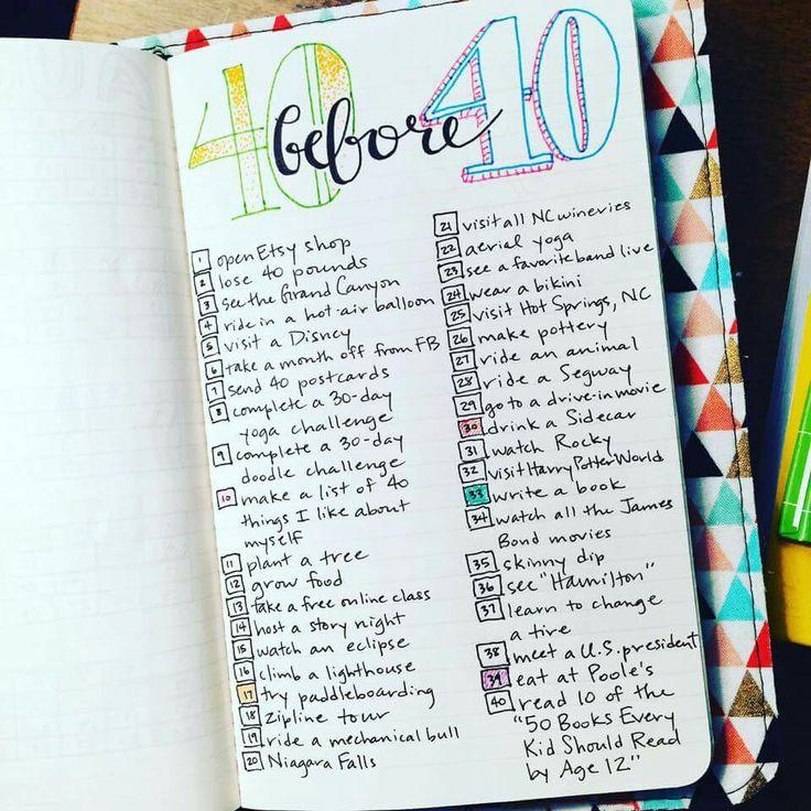 Bullet Journal 40 before 40