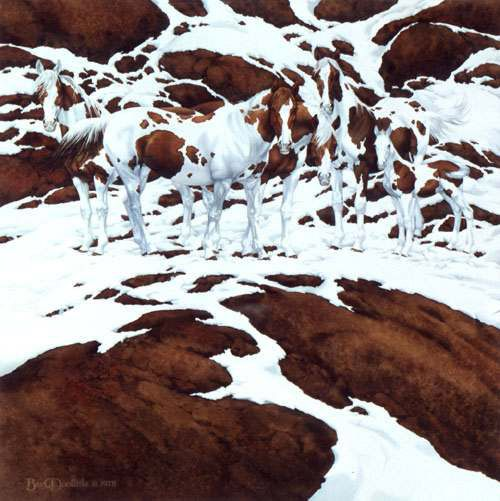 "'Pintos' (1978), Bev Doolittle. Credited with ""camouflage art"", the American artist focuses on nature and native America. WHERE? The watercolor was issued as prints."