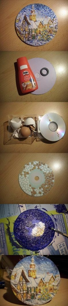 avec un CD et des morceaux de coquilles d'oeuf peint = cadre