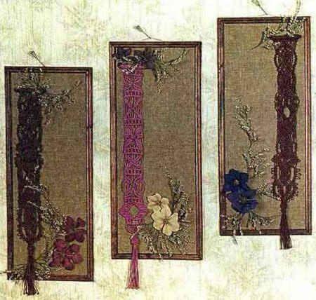 Три панно-макраме с цветами