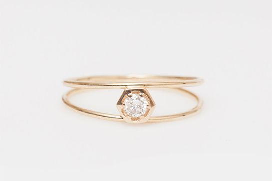 29 Unique Engagement Rings For San Francisco Brides #refinery29 http://www.refinery29.com/engagement-ring-shopping-san-francisco#slide-7 With a design inspired by the movement of the sun, this hexagon diamond ring by Vale is out-of-this-world gorgeous.