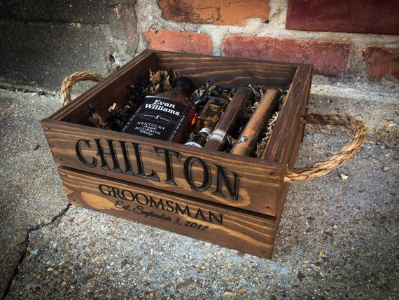 Wooden crate, Christmas gift, Groomsmen gift box, Gift box for men, Best man pro…  – Products