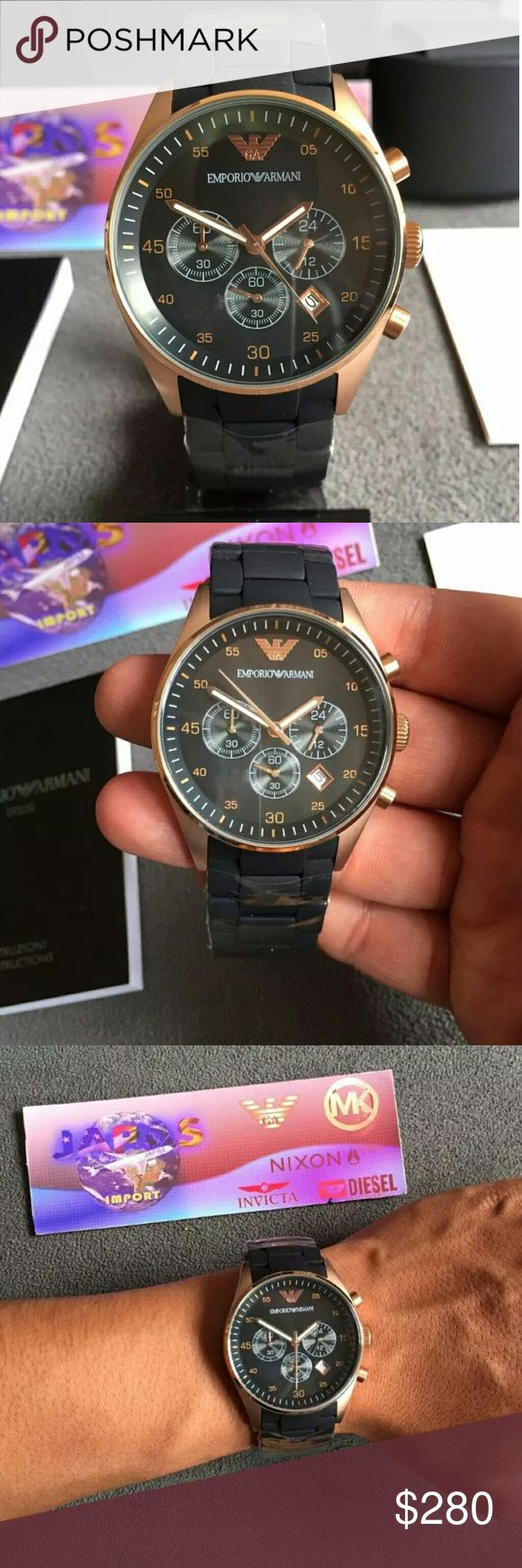 Brand New emporio Armani Chronograph watch Emporio Armani Chronograph Rose Gold Black Men's Watch   FIRM PRICEFIRM PRICE FIRM PRICE FIRM PRICE   $280.00  . AUTHENTIC WATCH   . AUTHENTIC BOX   . AUTHENTIC MANUAL    SHIPPING   PLEASE ALLOW 3-4 BUSINESS DAYS FOR ME TO SHIPPED IT OFF.I HAVE TO GET IT FROM MY STORE.   THANK YOU FOR YOUR UNDERSTANDING. Emporio Armani Accessories Watches