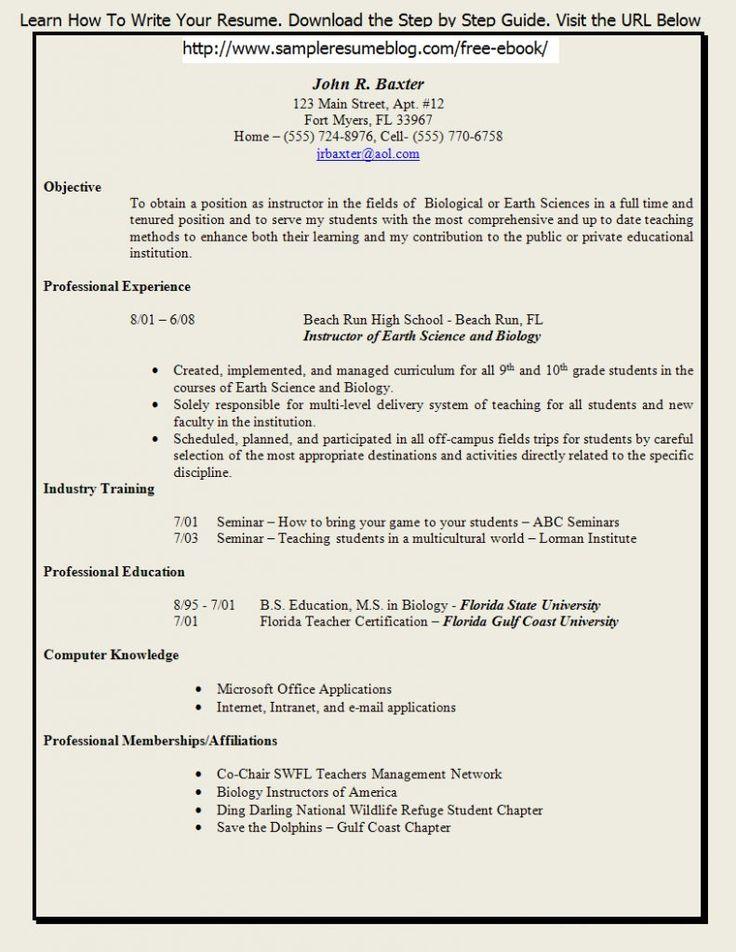 best resume format for teachers