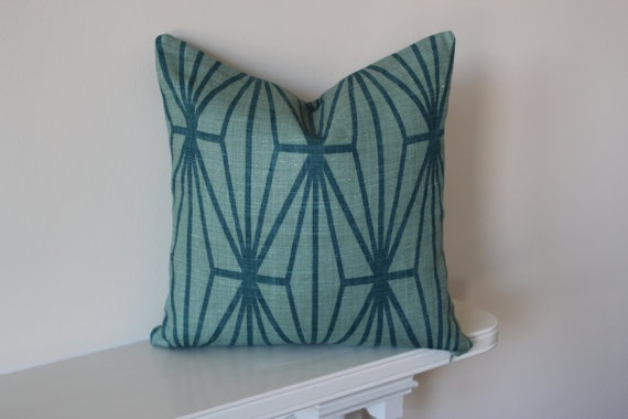 Kelly Wearstler Katana Teal Cushion Cover 20 Inch by Aurelia6311, $50.00