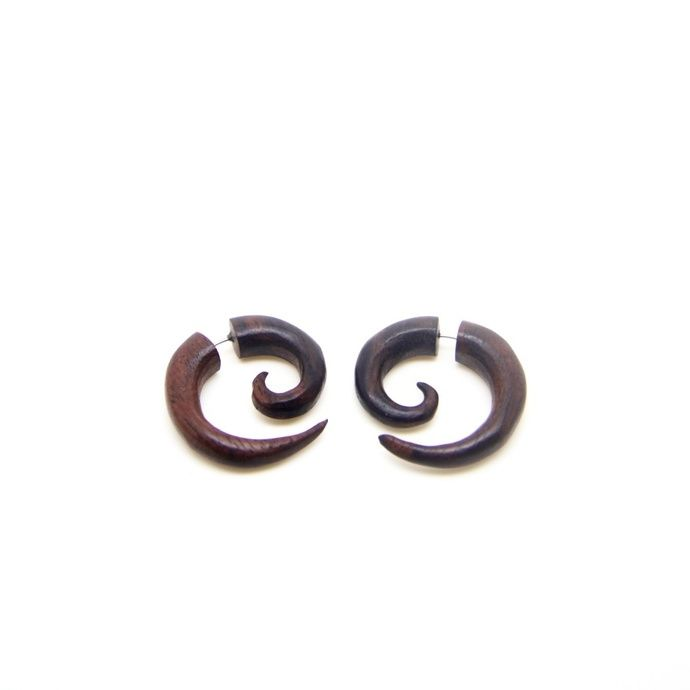 Small Spiral Fake Gauge, Faux Ear Gauges, Cheater Plugs Taper Wood Earrings by ayutribal, $8.50 USD