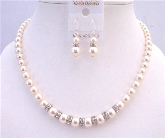 54.33$  Watch here - http://viulu.justgood.pw/vig/item.php?t=f47qt4j11343 - Rondells Ivory 8mm Pearls Necklace Wedding Custom Handcrafted Jewelry