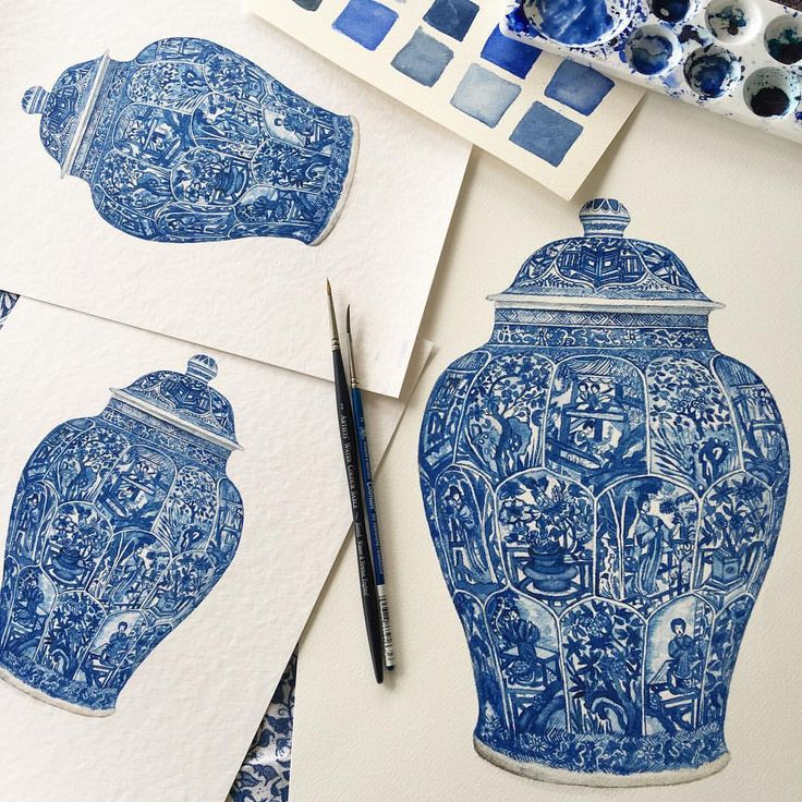 """189 Likes, 14 Comments - Michelle Grayson (@sproutgallery) on Instagram: """"Large and small prints now available of what's known as a blue and white 'ladies' jar from the…"""""""