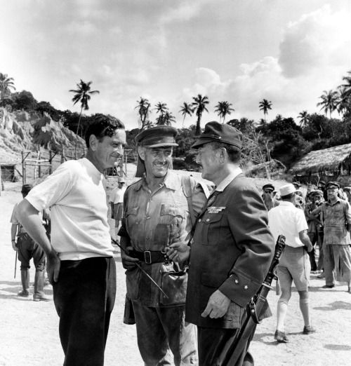 Sessue Hayakawa with Director David Lean & Alec Guiness on set of The Bridge on the River Kwai, 1957.
