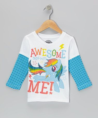 Take a look at this White & Blue 'Awesome Ends With Me!' Layered Tee - Toddler by My Little Pony on #zulily today!