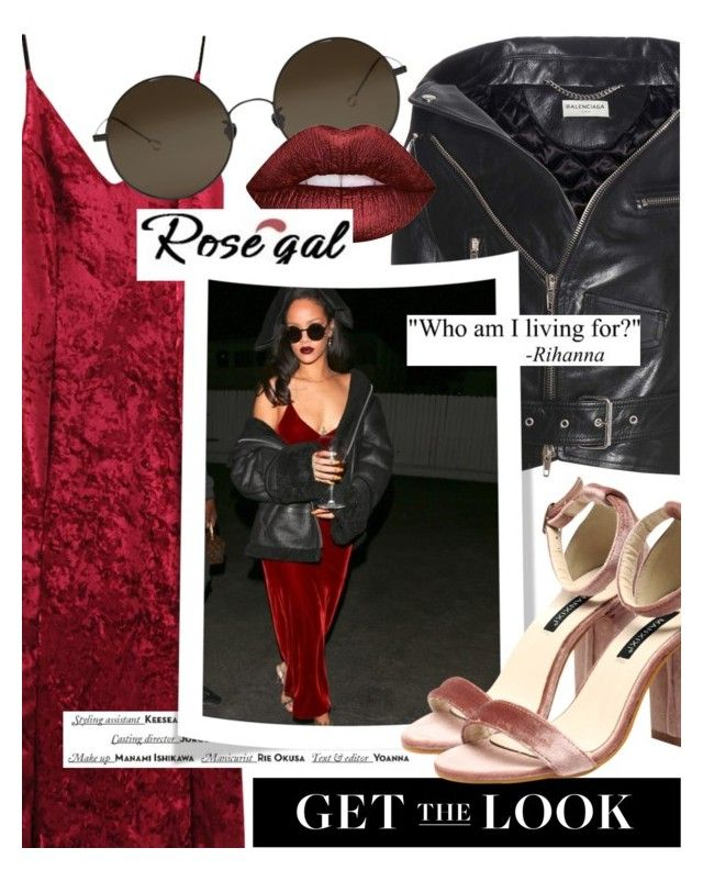 """Get the Look: Velvet (rosegal.com / coupon code ROSEPC2017 )"" by cultofsharon ❤ liked on Polyvore featuring Balenciaga, Ann Demeulemeester, Lime Crime and Vision"