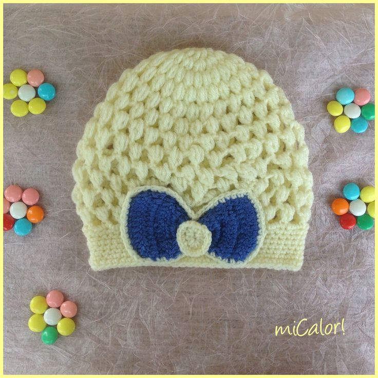 Crochet Bow Hat for Girls by miCalorKnits on Etsy