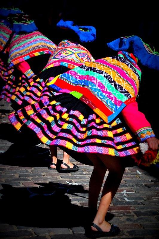 Girls Dancing. Cusco, Peru.
