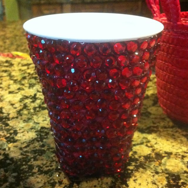 """Glampers Bedazzled red solo cup! <3 <3 <3 our pins?  """"LIKE"""" us at: https://www.facebook.com/bound4burlingame to get camping tips, recipe ideas and outdoor finds on your newsfeed."""