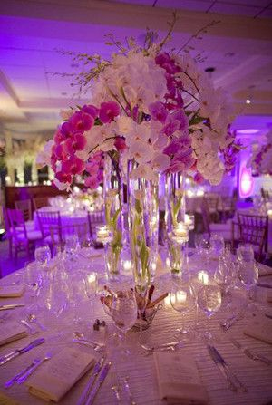 sweet romantic wedding centerpieces ideas for orchid purple theme weddings 2014