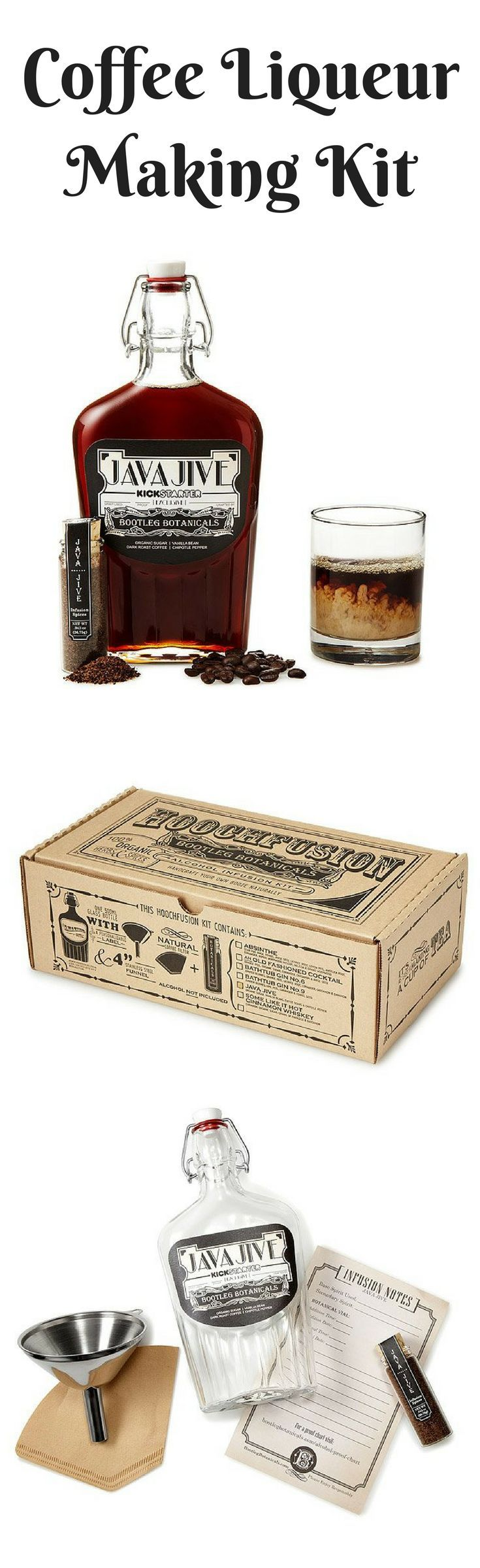 DIY Coffee Liqueur Making Kit  #ad #liqueur #cocktail #coffee #bar #gifts #giftidea #giftideas #giftsforhim #giftsfordad #groomsmengifts