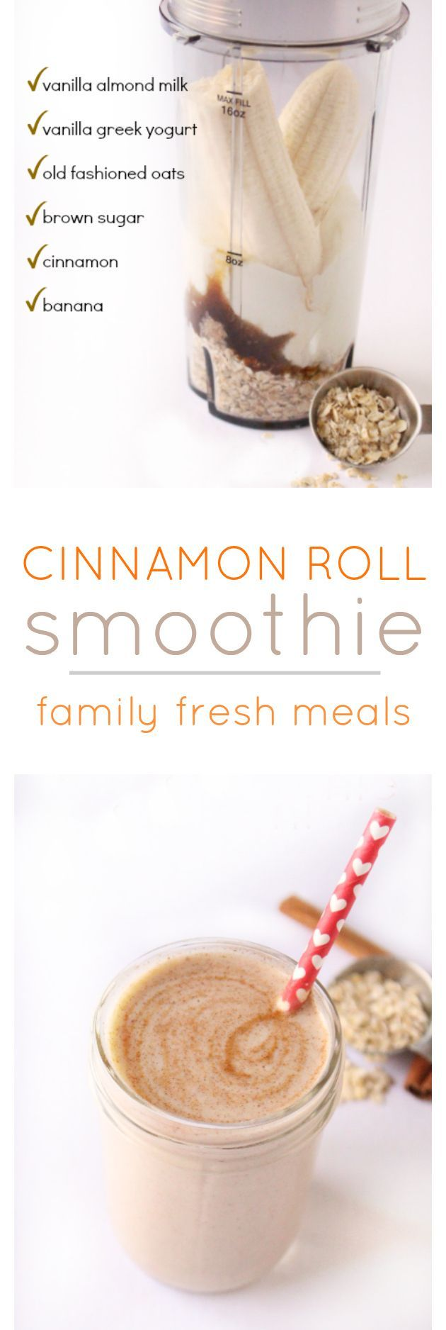 Cinnamon Roll Smoothie! Taste just like a cinnamon bun shoved into a glass. Healthy Smoothies #healthy