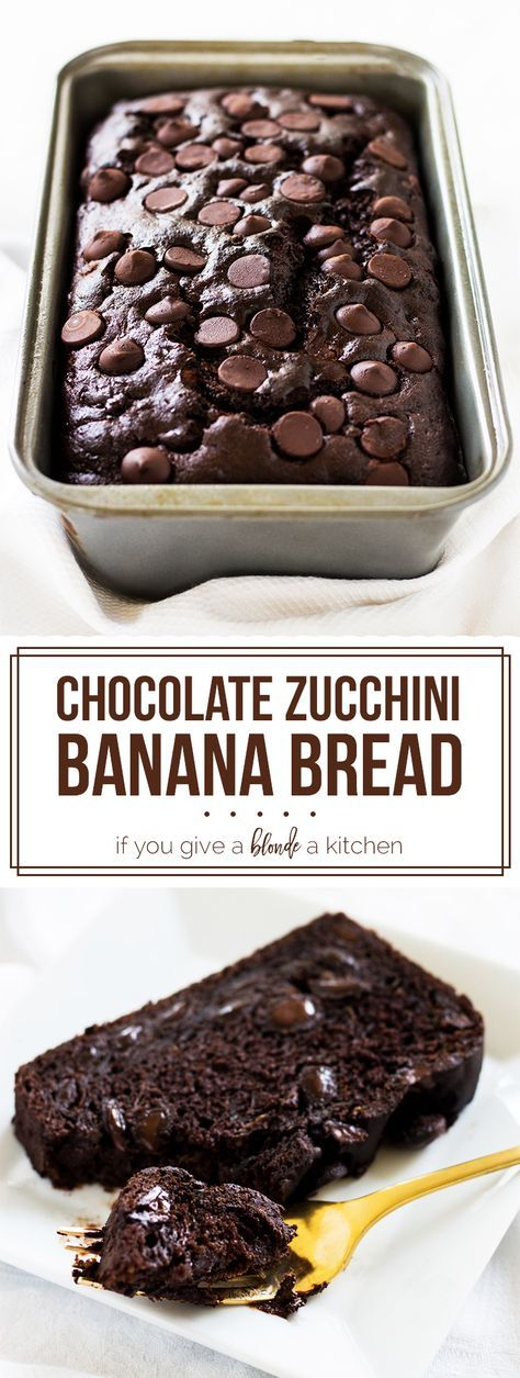 Chocolate zucchini banana bread is dense and moist. Filled with chocolate chips, it's the perfect bread to eat any time of day! | www.ifyougiveablondeakitchen.com