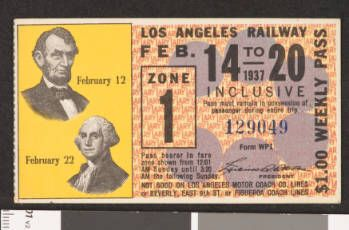 Los Angeles Railway weekly pass, 1937-02-14 :: LA as Subject