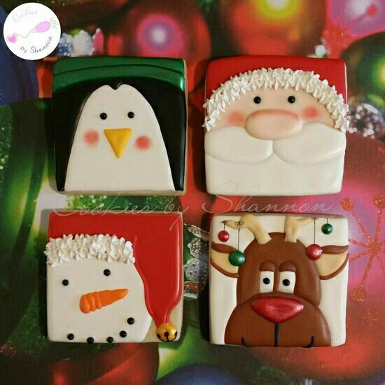 238 best Christmas reindeer penguins Decorated Cookies And ... - photo#32